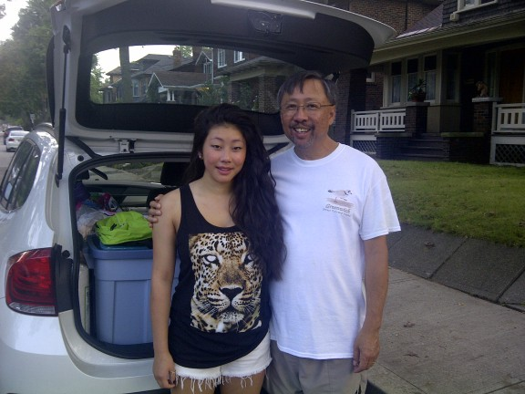 Vivian and her Dad packing up the car for her big move!